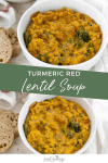 If you're looking for healthy, nutrient-dense comfort food, this.is.it. Turmeric Red Lentil Soup! Creamy, thick lentil stew with turmeric, vegetables and kale. Vegan and Gluten-Free.