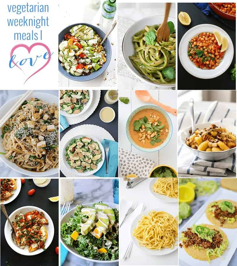 11 Healthy, Vegetarian Weeknight Meals! Pin to make tonight or later! This is a great resource of tried & true meals ready in 30 minutes or less.