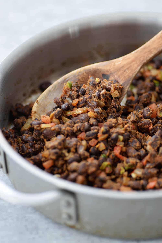 skillet of vegan black bean taco filling