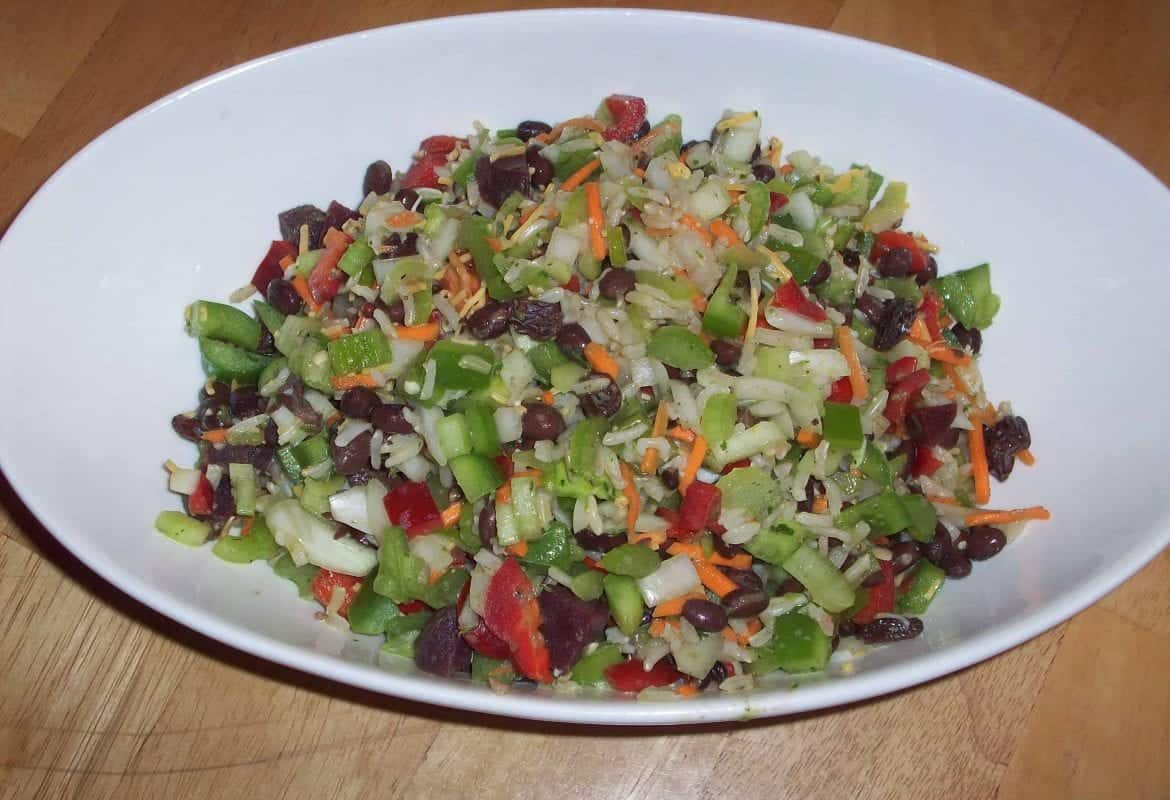 Brown Rice Salad with Zesty Orange Dressing