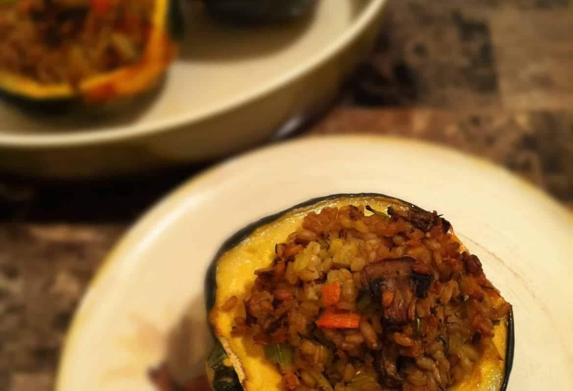 Recipe Redux: Stuffed Acorn Squash with Barley and Mushrooms