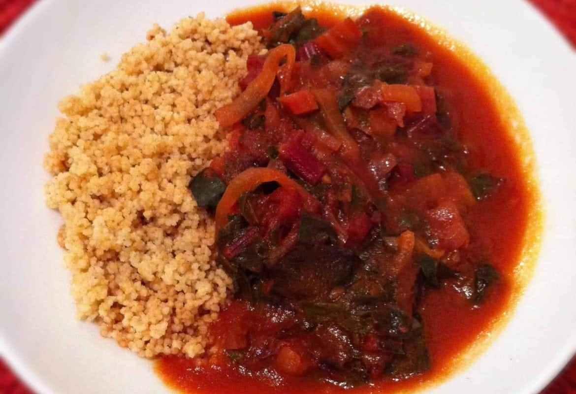 Swiss Chard Puttanesca over Couscous