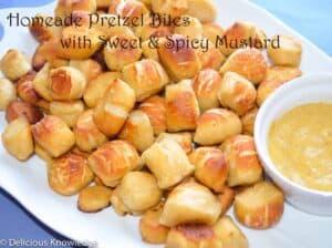 Pretzel bites with sweet and spicy mustard sauce