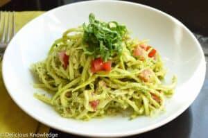 raw zucchini with pesto