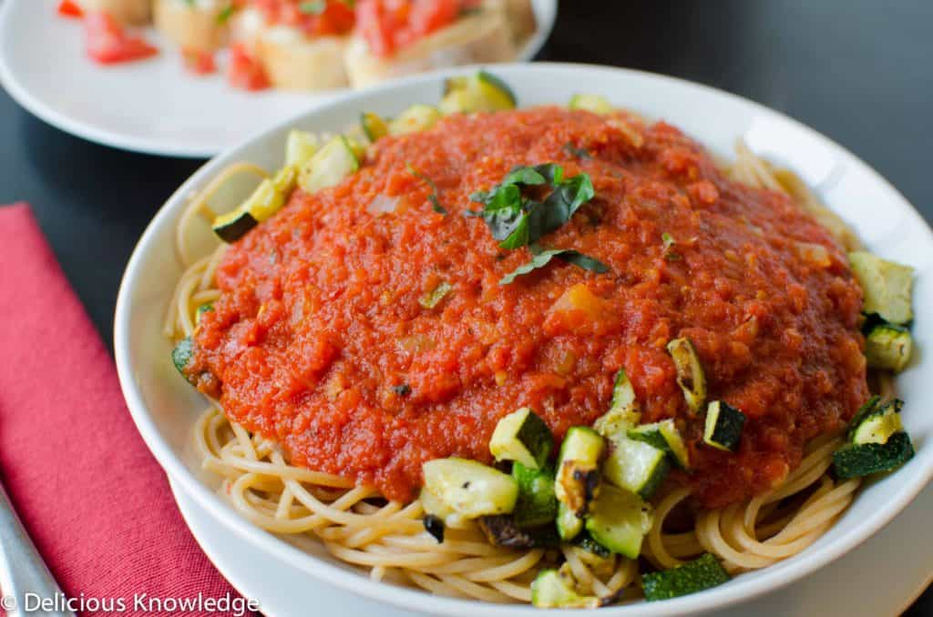 roasted zucchini pasta with arrabiata sauce