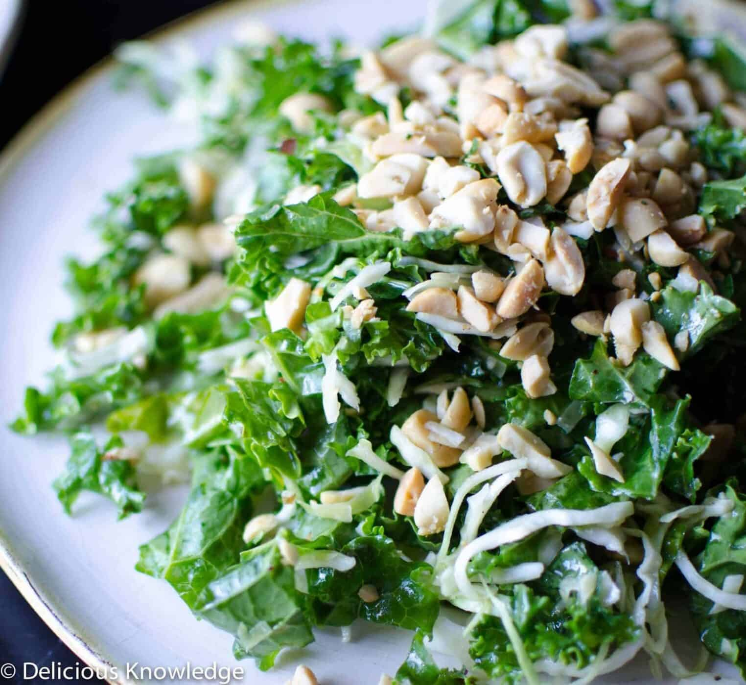 Roasted Peanut Kale Salad! A healthy, vegan and gluten free that mimics South Beverly Grill's version. Kale and cabbage salad tossed with a roasted peanut dressing.