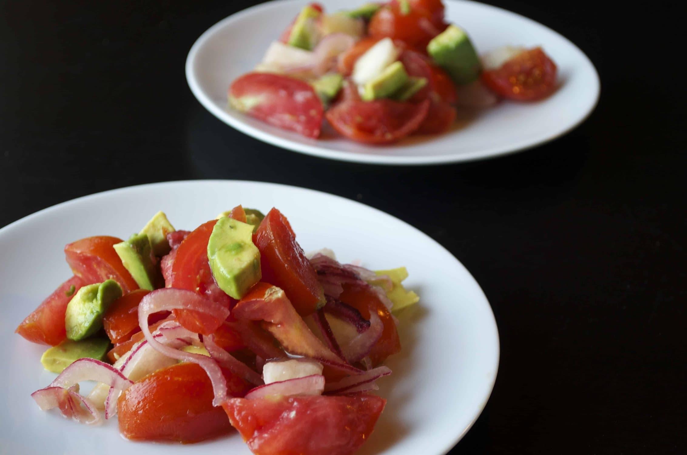 Summer Salads Part 2: White Peach, Tomato & Avocado Salad