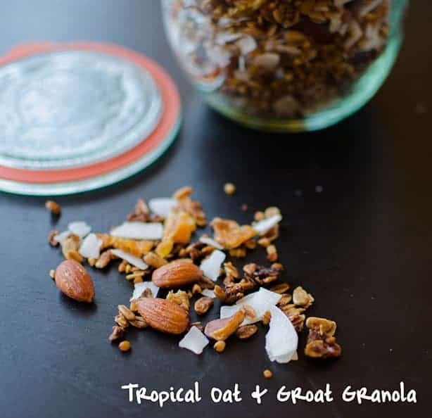 A Tropical Groat Granola made with almonds, buckwheat groats, sunflower seeds, pineapple and coconut. Healthy, gluten-free and perfect on it's own or with yogurt and fresh fruit.