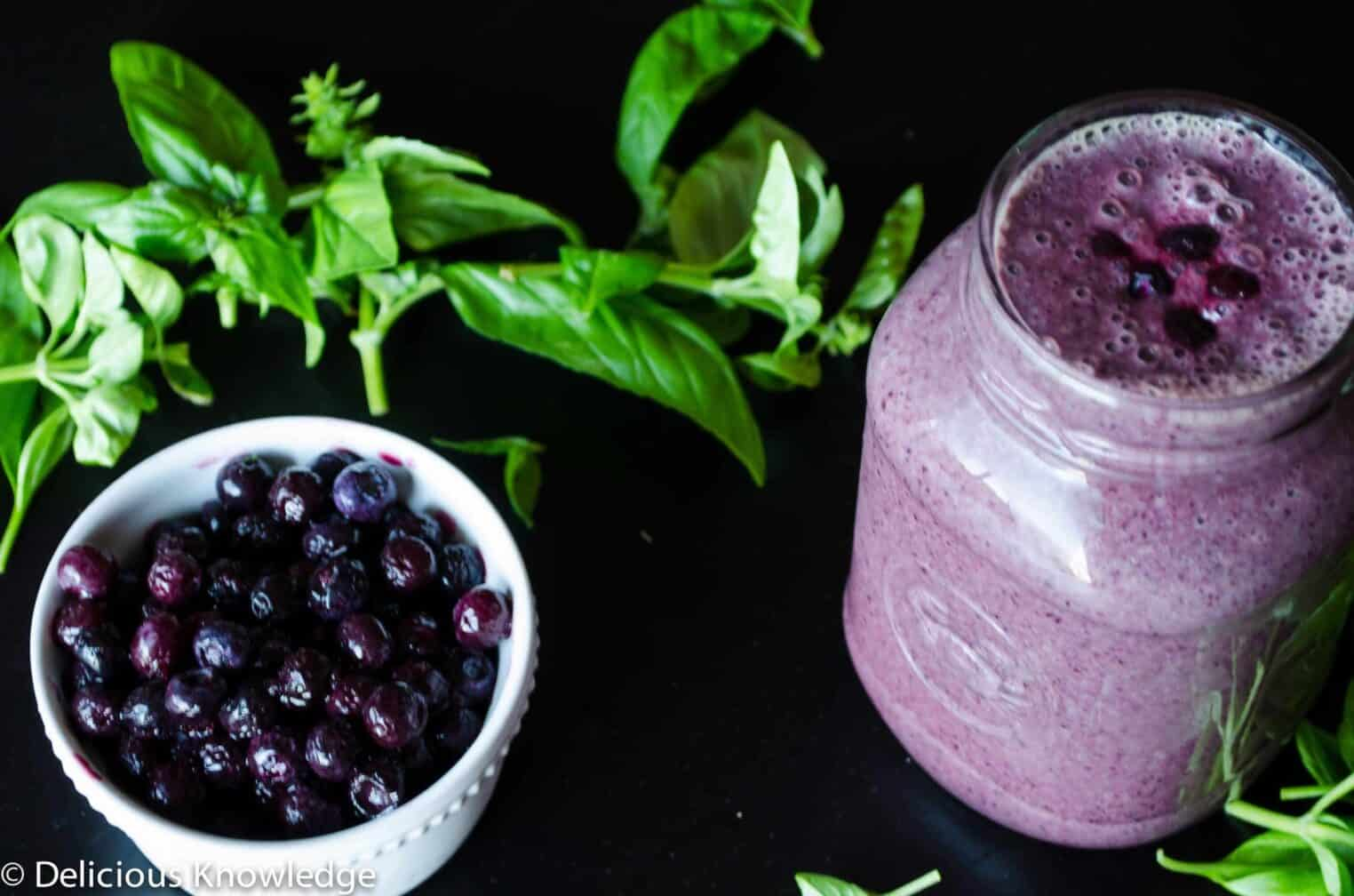Blueberry Basil Smoothie! An incredibly refreshing smoothie made from blueberries and basil. Gluten-free and vegan.