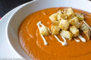 vegan tomato bisque with cheesy croutons