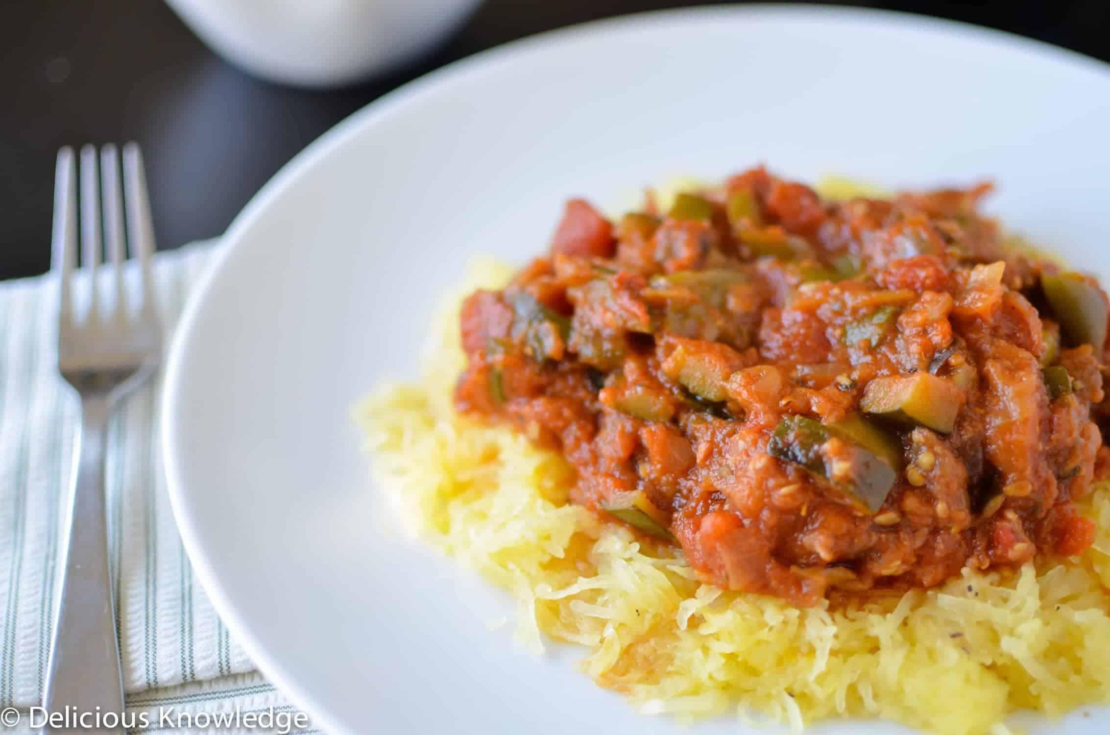 Spaghetti Squash with Ratatouille Sauce - Delish Knowledge