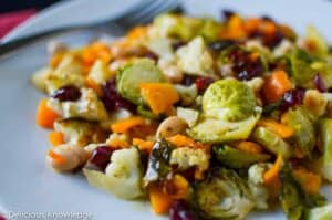 Close up image showing the Brussel sprout salad