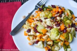 Autumn Salad! Vegan & Gluten-Free. Roasted brussel sprouts, butternut squash and cauliflower tossed with beans & horseradish dressing