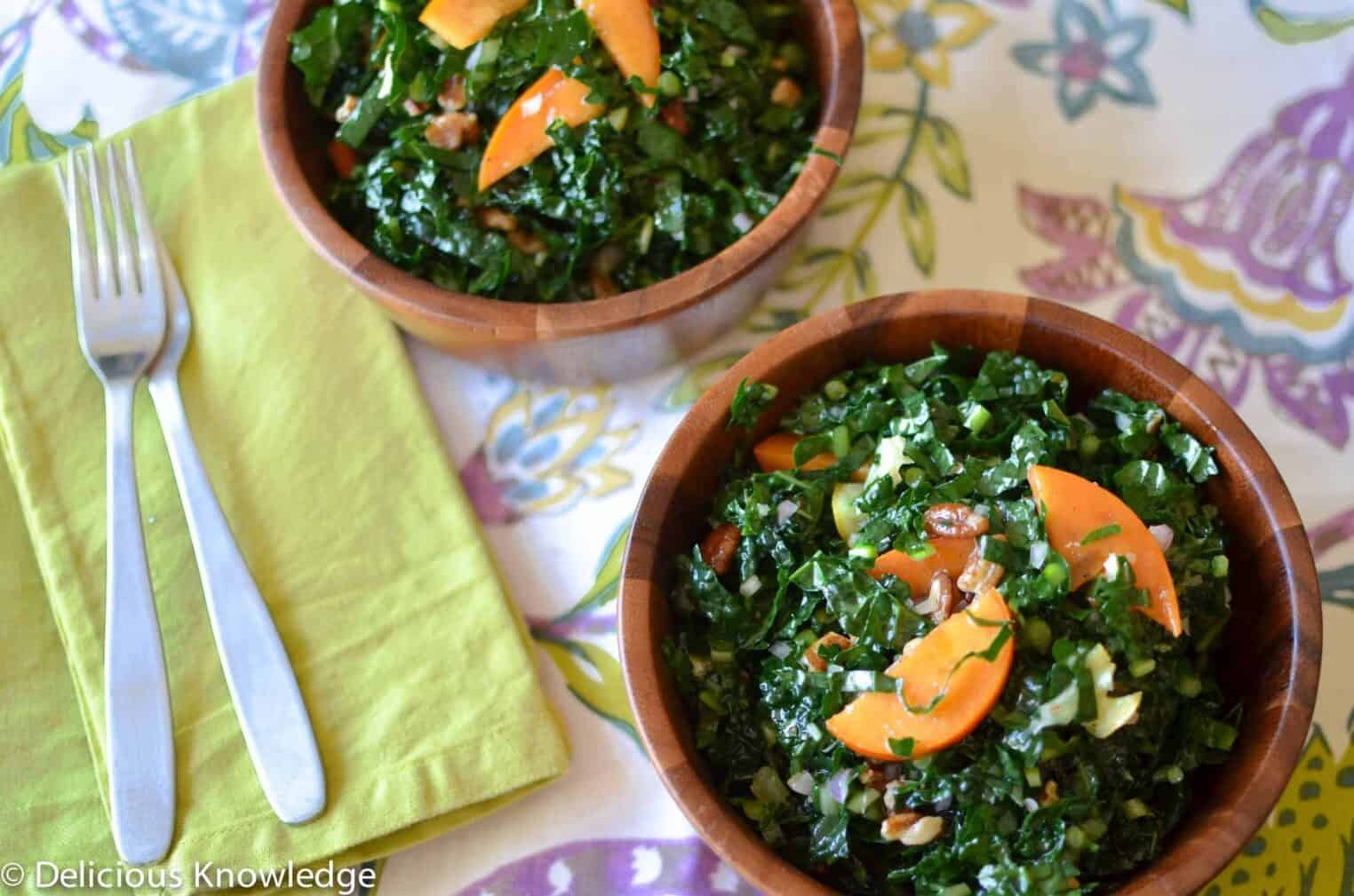 winter kale salad with preserved lemons and persimmons