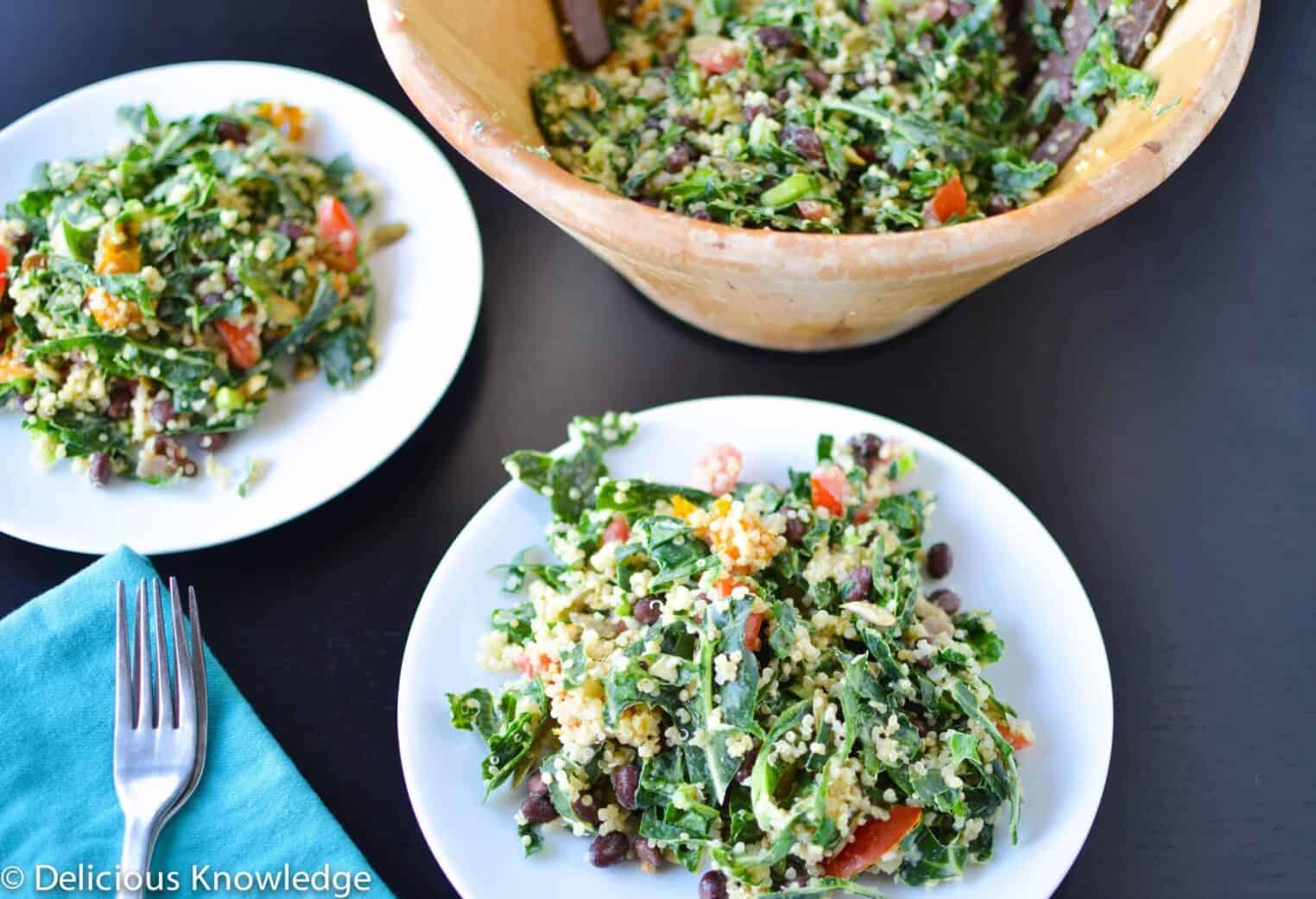 Collard Power Salad with Lemon-Tahini Dressing