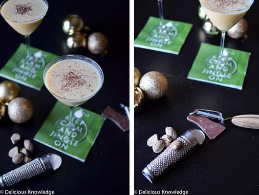 Vegan Eggnog Martini made with Silk Eggnog and fresh nutmeg