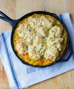 roasted vegetable skillet with onion biscuit