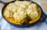 Root Vegetable Skillet Pie with Scallion Biscuits