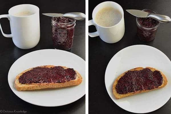 Blueberry Chia Jam on toast with coffee
