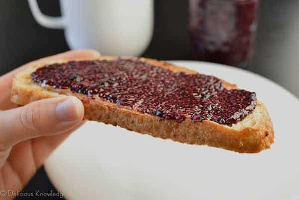Close up shot of the blueberry jam on toast