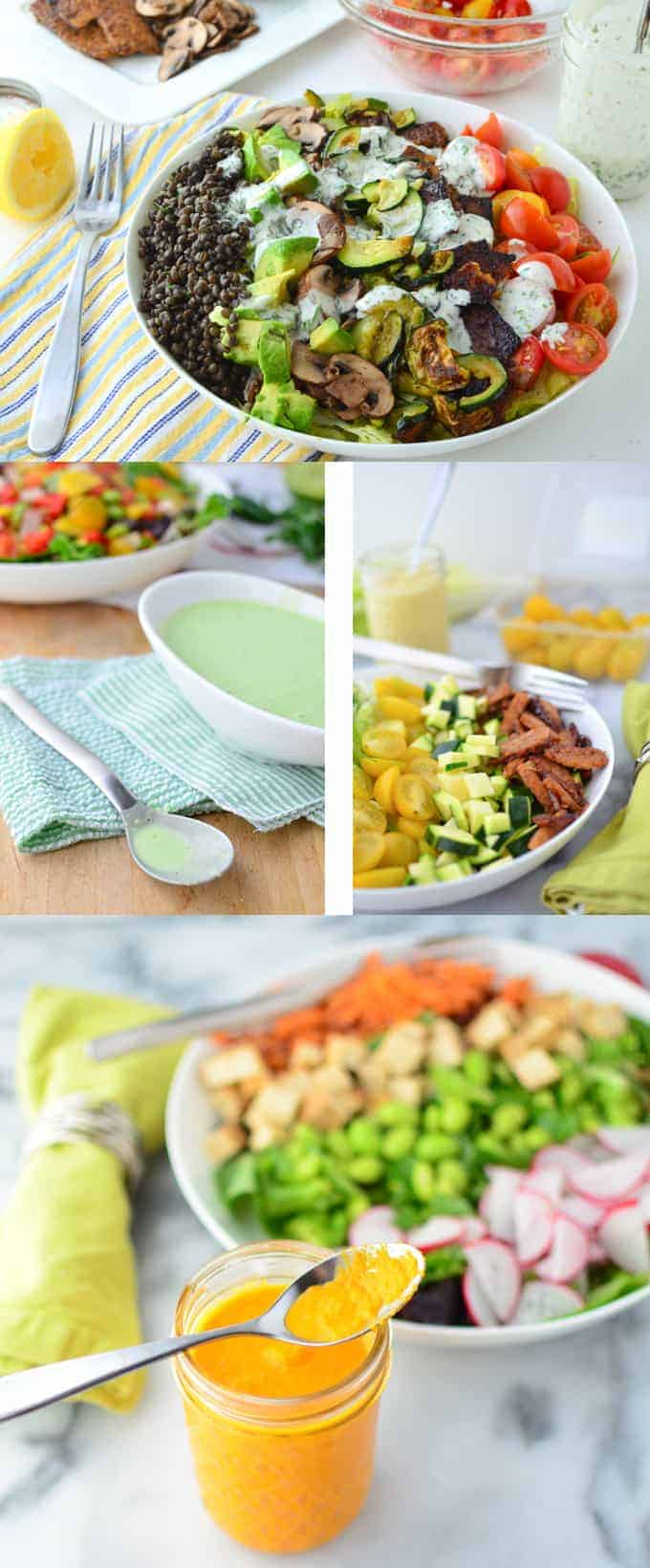 4 low-fat salad dressings! Carrot-Miso, Spicy-Herb, Curry-Hummus and Dilly-Ranch