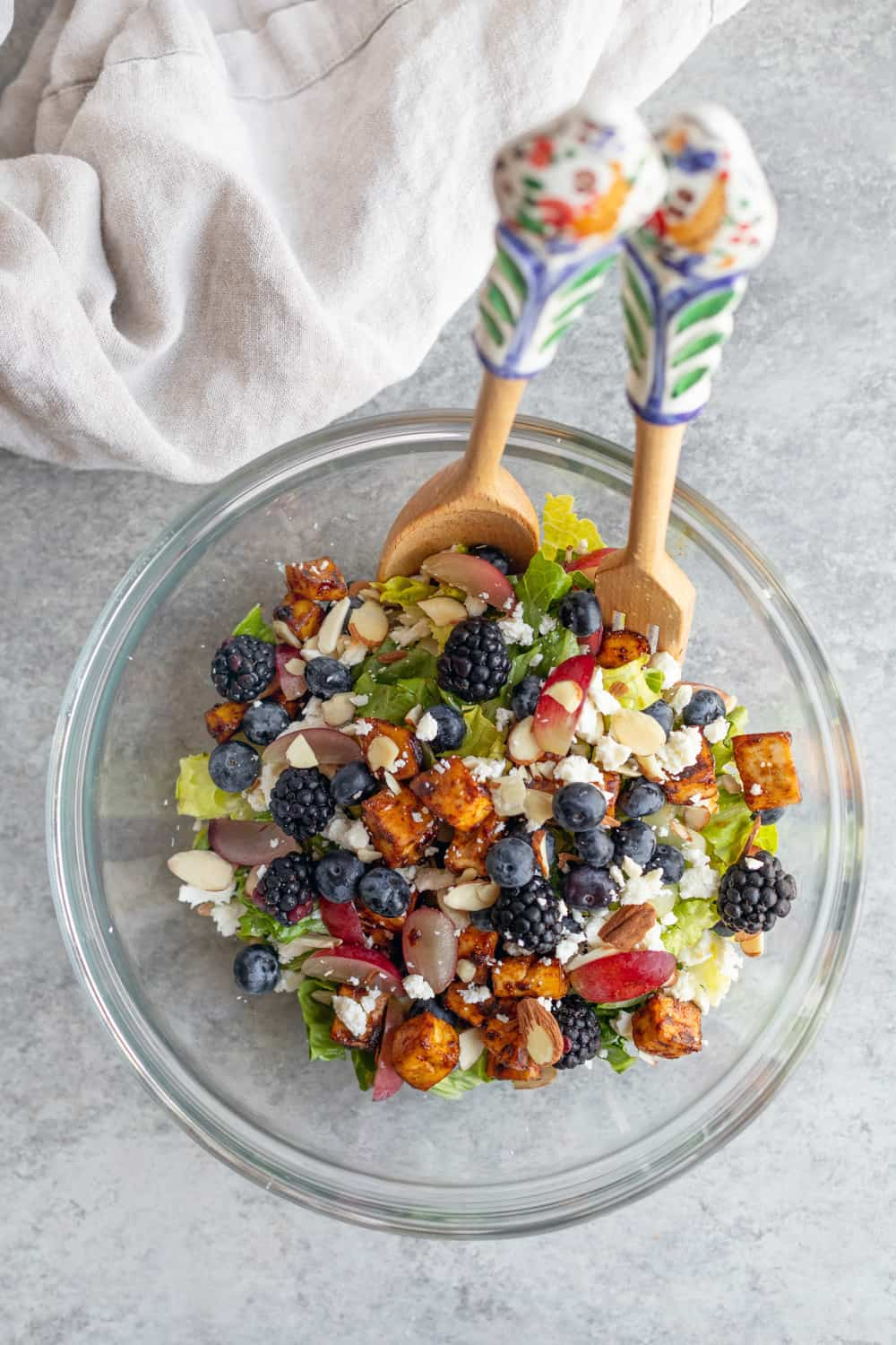 Rainbow Berry Salad with Almond Dressing.