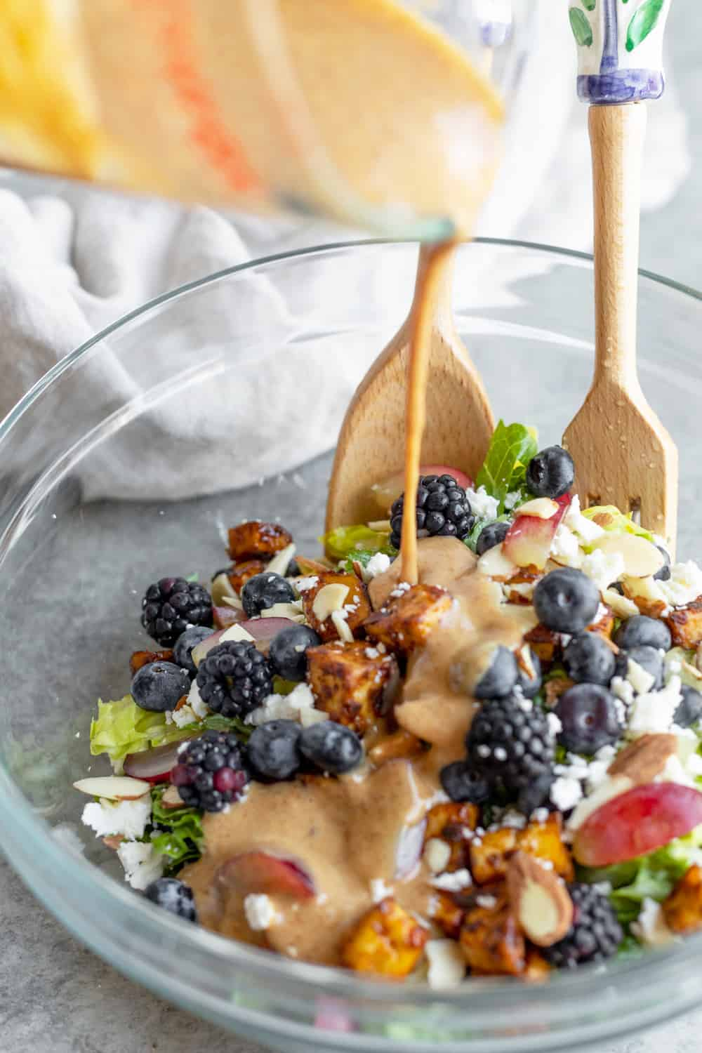 Rainbow Berry Salad with Almond Butter Dressing.