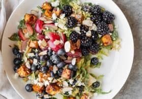 Rainbow Berry Salad with Almond Dressing