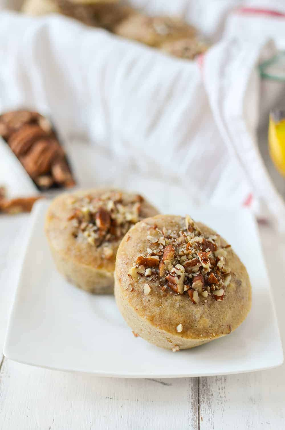 These healthy banana muffins are perfect for a light snack, breakfast or dessert!