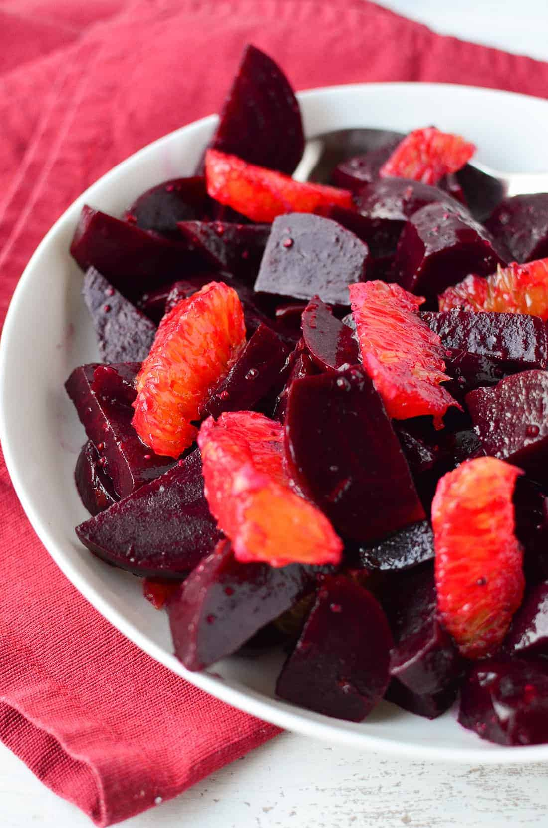 Simple winter salad! Roasted beets, orange segments in a maple-dijon dressing. #GlutenFree #Vegan | www.delishknowledge.com