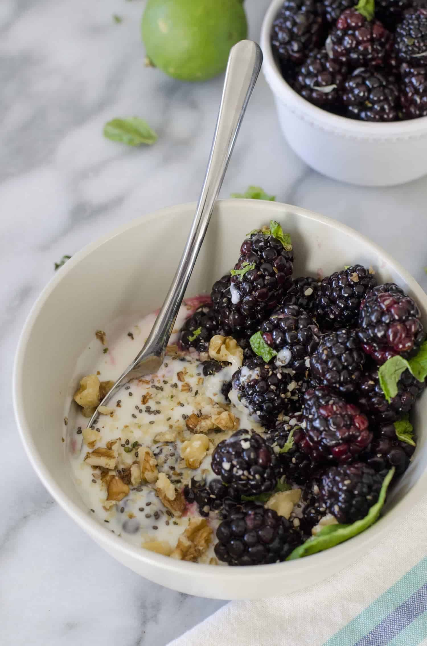 Blackberry Mint Lime Yogurt Bowls! Fresh blackberries tossed with lime juice and mint and served over greek yogurt. A healthy, protein packed breakfast or snack. vegetarian and gluten-free | www.delishknowledge.com