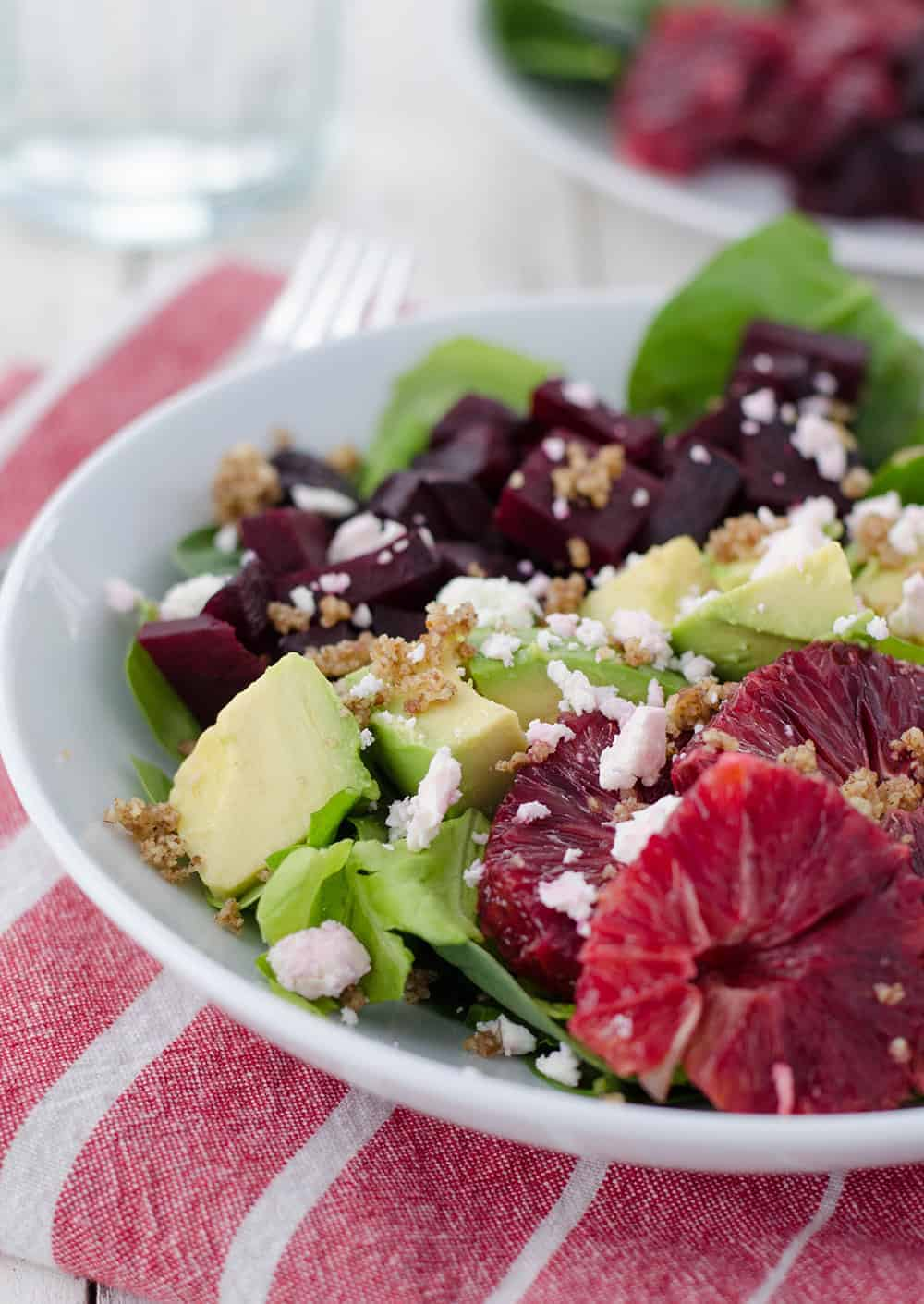 Blood Orange and Roasted Beet Salad with walnut dressing! This winter salad is so delicious, you've gotta try it! Vegetarian, easily vegan and gluten-free | www.delishknowledge.com