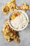 Caramelized Onion Dip with Baked Potato Chips! This appetizer is perfect for summer; easy caramelized onion dip made with greek yogurt and homemade baked potato chips with less oil than traditional chips. Vegetarian, easily vegan using dairy-free versions. | www.delishknowledge.com