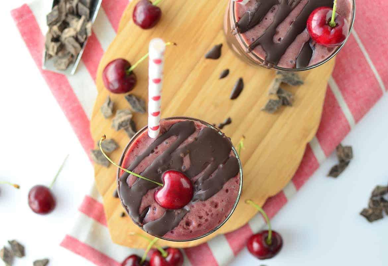 Vegan Chocolate Cherry Milkshakes