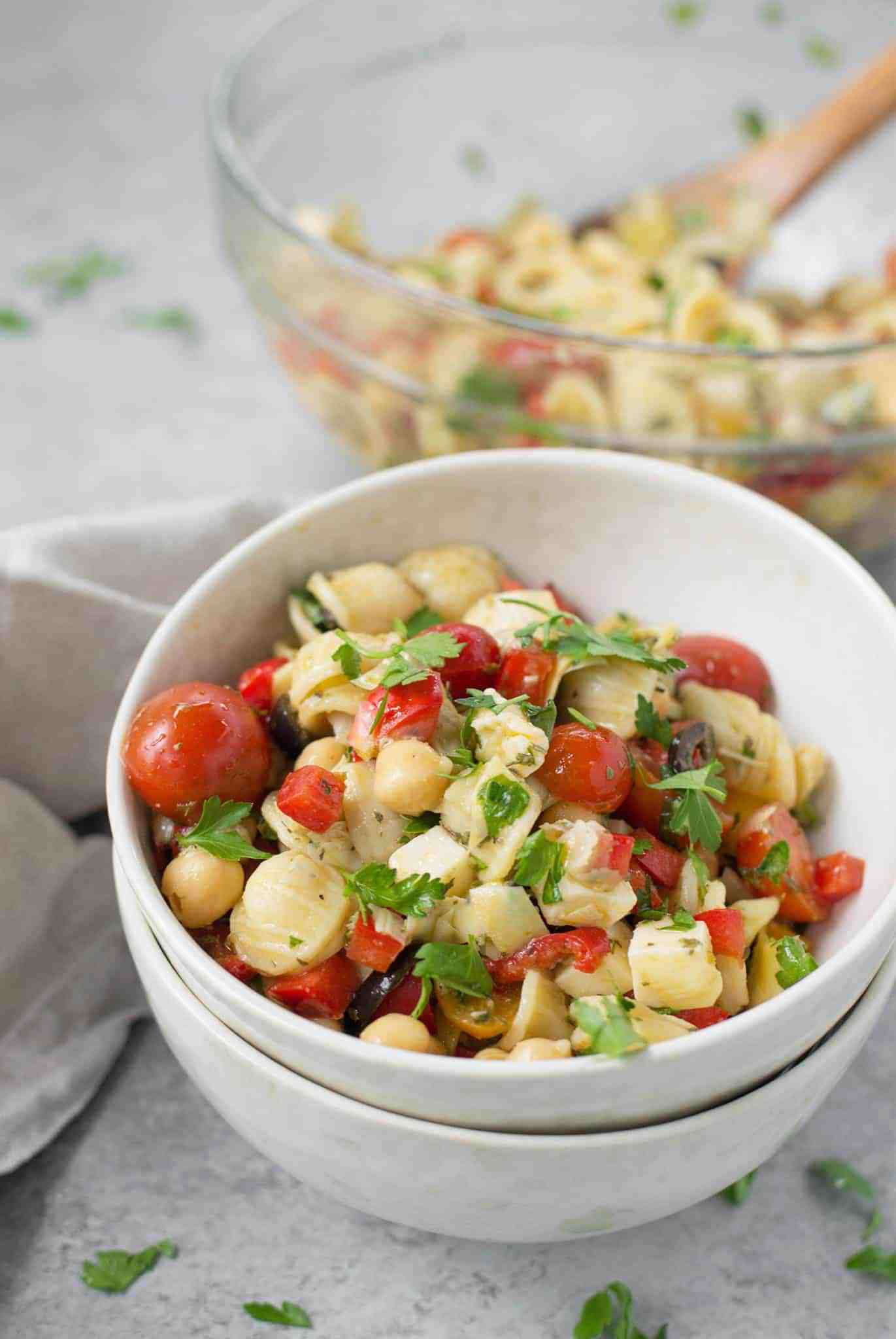 Serve the pasta salad immediately or refrigerate for the next few days