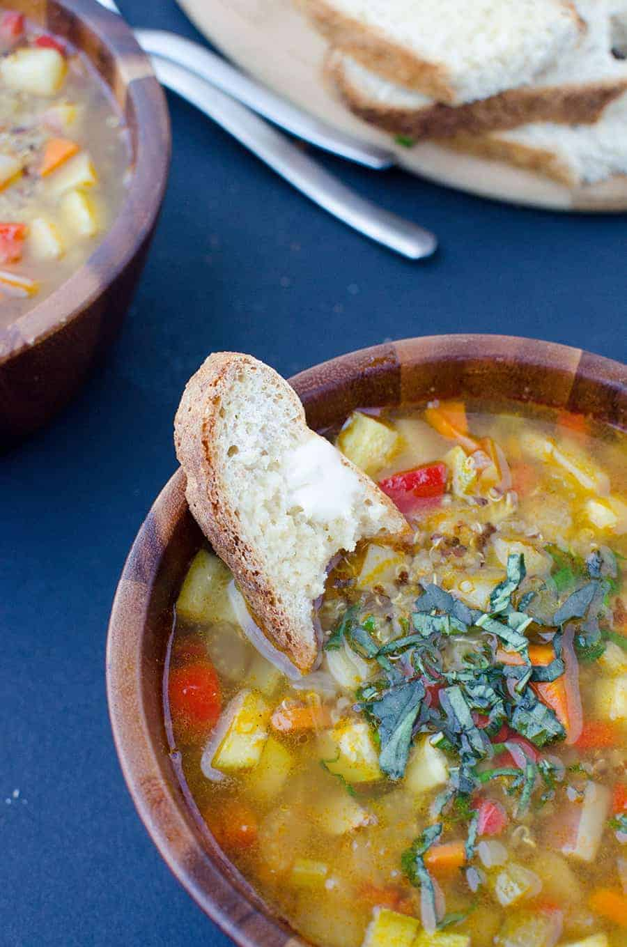 Chunky Vegetable Soup! A healthy, simple soup that's perfect anytime of the year. Vegeables and potatoes simmered in a lightly spiced broth. Served with quinoa. #Vegan and #GlutenFree