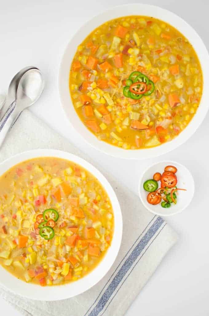 Get ready for fall with this healthy chowder. Filled with fresh sweet corn, sweet potatoes, peppers and yellow squash. Vegetarian and Gluten-Free.