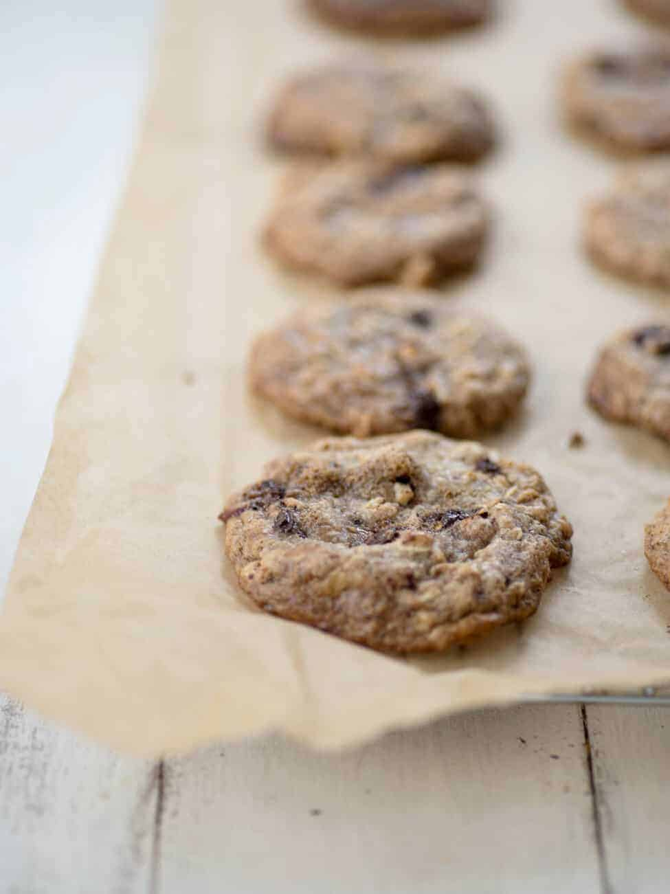 Vegan and Gluten-Free Cranberry, Chocolate and Walnut Cookies. The perfect healthy cookie to add to your holiday dessert platter. | www.delishknowledge.com