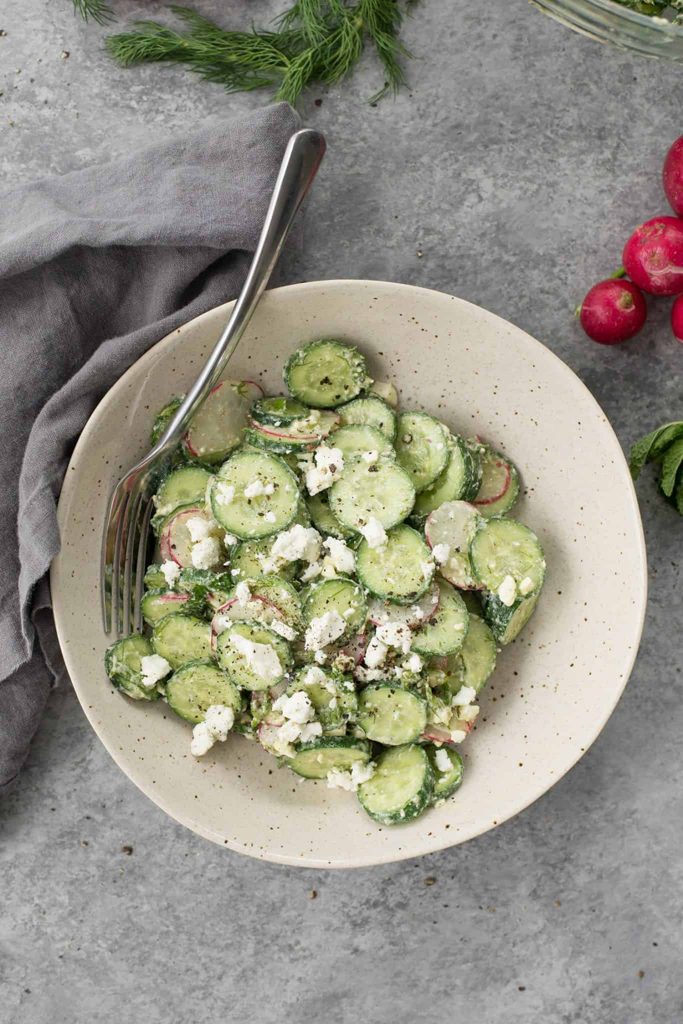 Cucumber, Dill and Radish Salad! A MUST-MAKE side-dish; refreshing, delicious and healthy! Vegetarian and gluten-free   delishknowledge.com