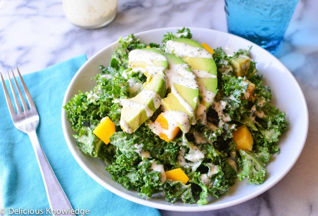 kale and mango poppyseed salad