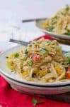 Easy Vegan Drunken Noodles! Spicy sauce with rice noodles and vegetables. Easier and healthier than Thai takeout!   www.delishknowledge.com