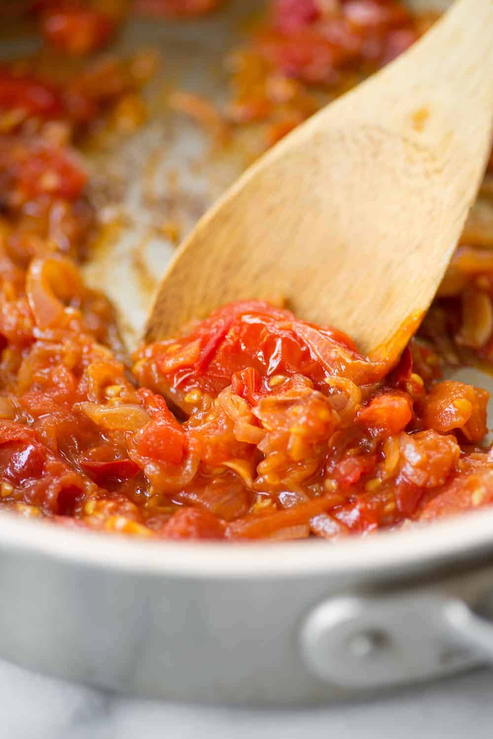 simmered tomatoes and garlic