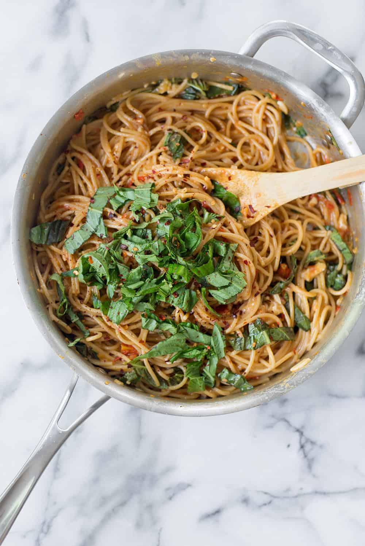 pan of caprese pasta