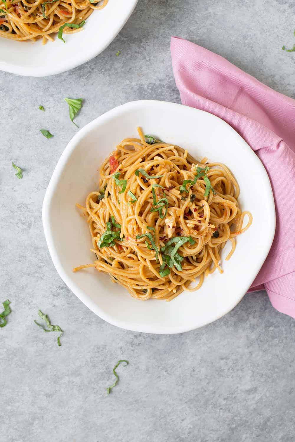 easy caprese pasta with brie and basil