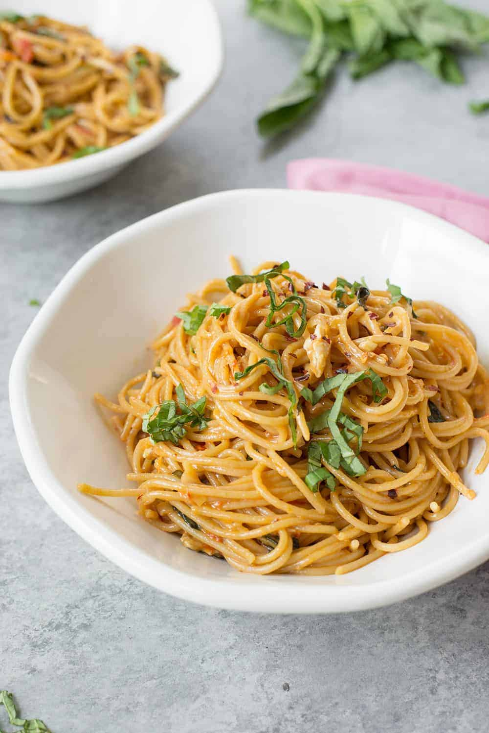 easy pasta with brie and tomatoes