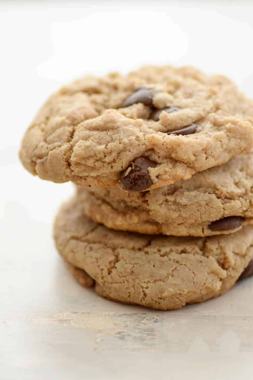 close-up stack of vegan and gluten-free chocolate chip cookies