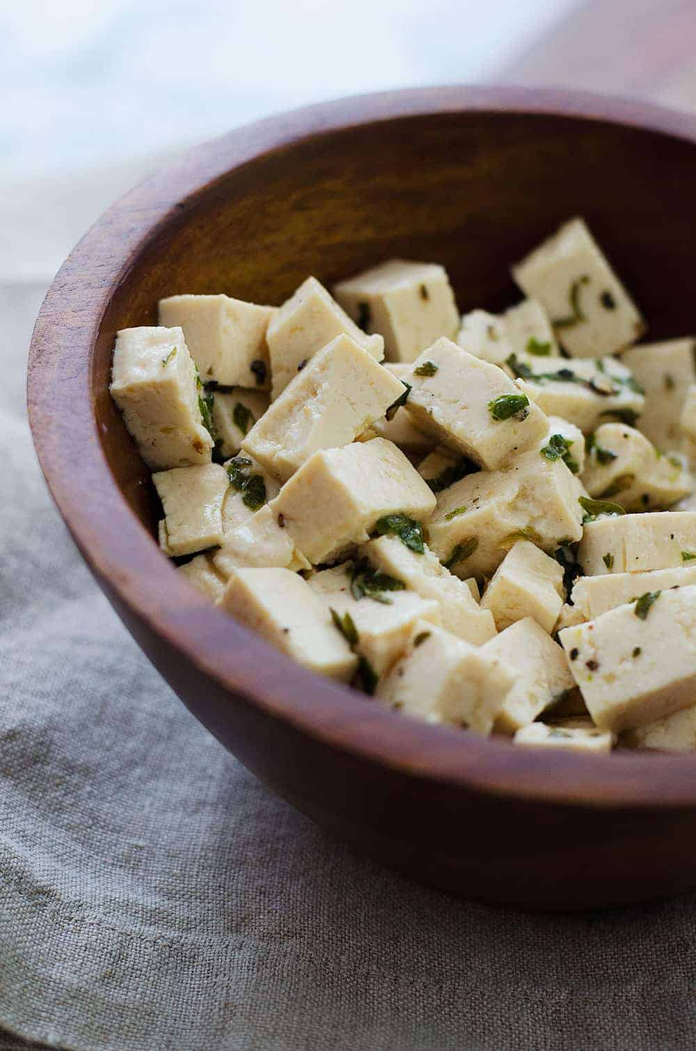bowl of tofu feta