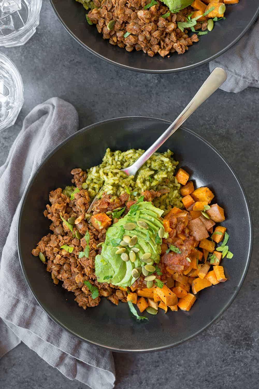 vegan green rice burrito bowls
