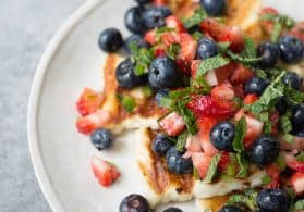 Grilled Halloumi with Berry Mint Salad