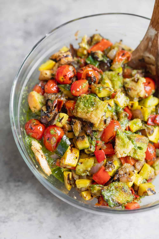 Grilledd Panzanella Salad with Basil Dressing